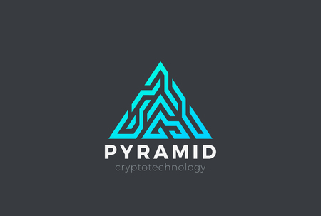 Pyramid Logo Triangle digital design for Blockchain Cryptocurrency Technology Vector template. Letter A Block chain style Logotype concept icon Illustration