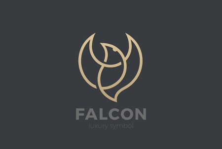 Flying Bird Logo Elegant design vector template Linear style. Soaring Eagle Falcon Dove Jewelry Cosmetics Fashion Luxury Logotype concept icon