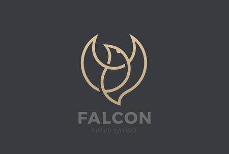Flying Bird Logo Elegant design vector template Linear style. Soaring Eagle Falcon Dove Jewelry Cosmetics Fashion Luxury Logotype concept icon