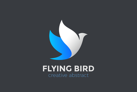 Flying Bird Logo design vector template. Eagle Falcon Dove Logotype concept icon Иллюстрация