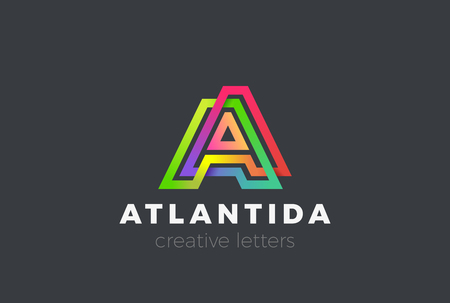 Letter A Logo Geometric Font design vector template Linear style. Infinite looped color line Monogram Logotype concept icon Illustration