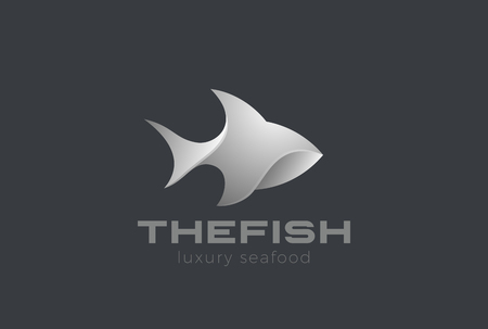 Fish Logo 3D design vector template. Seafood Restaurant store Jewelry Logotype concept icon Illustration