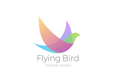 Flying Bird Logo Elegant design vector template. Dove Pigeon Cosmetics Fashion Luxury Logotype concept icon  イラスト・ベクター素材