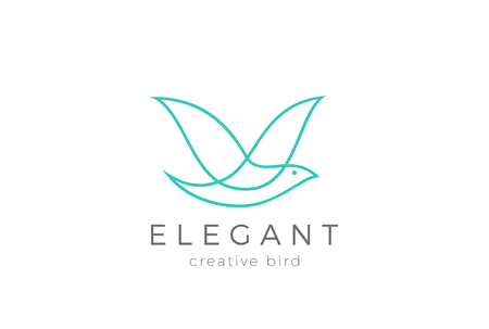 Flying Bird Logo Elegant design vector template Linear style. Dove Pigeon Cosmetics Fashion Luxury Logotype concept icon