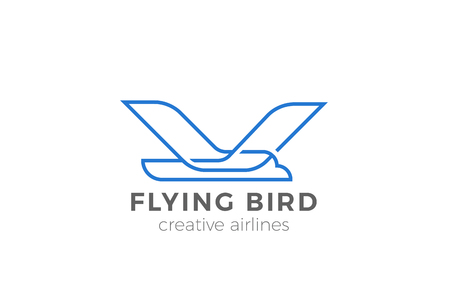 Flying Bird Logo Geometric design vector template. Airlines Aircraft Airplane Logotype concept icon