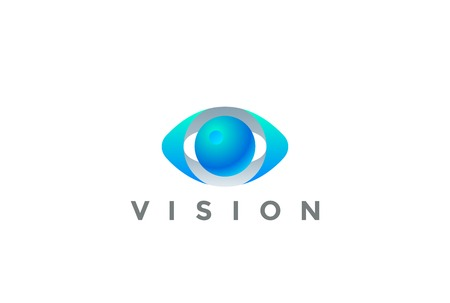 Eye Logo Vision 3D design vector template. Security Video Photo Optic Lens Spy Virtual Camera Logotype concept icon Çizim