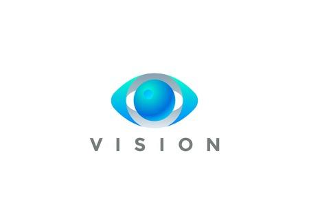 Occhio Logo Vision 3D modello di disegno vettoriale. Sicurezza Video Foto Ottica Lente Spy Virtual Camera Logotype concept icon