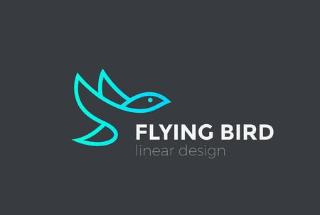 Flying Bird Logo design vector template Linear style. Eagle Falcon Dove Hawk Logotype concept icon