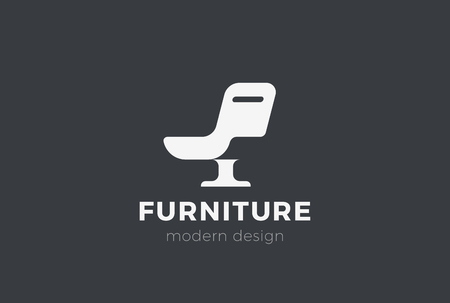 Armchair Furniture Logo design vector template Negative space style. Chair silhouette Logotype concept icon Ilustração