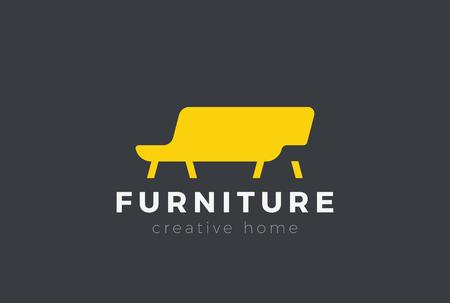 Sofa-Möbel-Logo-Design-Vektor-Vorlage Negativraum-Stil. Diwan-Silhouette Logo-Konzept-Symbol