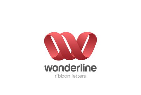 Letter W Logo Ribbon design vector template Infinite Looped shape. Creative Typography Font Monogram Logotype concept icon Ilustrace
