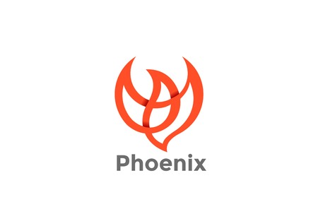 Flying Soaring Phoenix Bird Logo design vector template.  Dove Fashion Luxury Logotype concept icon