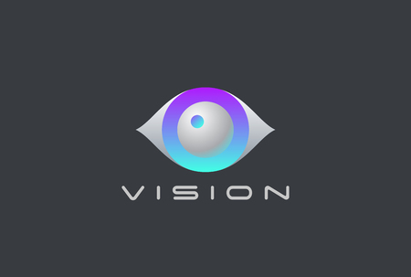 Eye Logo Vision 3D design vector template. Security Video Photo Optic Lens Spy Virtual Camera Logotype concept icon