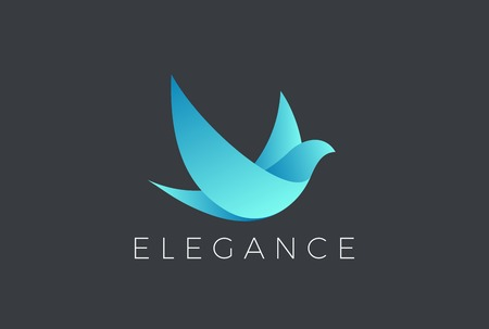 Flying Bird Logo Elegant design vector template. Dove Pigeon Cosmetics Fashion Luxury Logotype concept icon Ilustração
