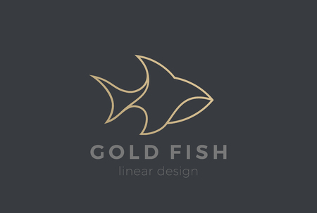 Fish Logo design vector template Linear style. Seafood Restaurant store Luxury Jewelry Logotype concept icon