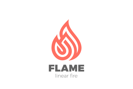 Fire Flame Droplet Logo design shape vector template Linear style. Luxury Logotype concept icon