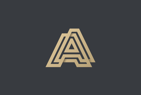 Letter A Logo Gold Geometric Font design vector template Linear style. Infinite looped color line Monogram Logotype concept icon