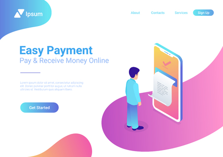 Online Payment on smartphone isometric flat vector 3d isometric illustration. Man pay by mobile bank. Huge phone screen printed receipt. Internet finance service and banking web application template Çizim