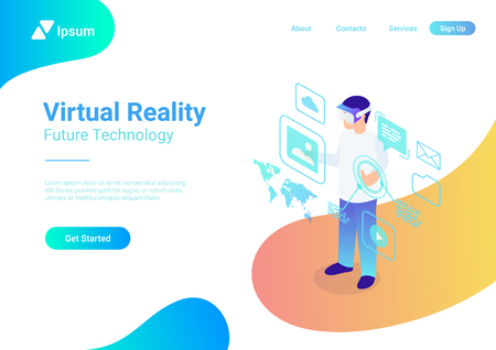 Isometric flat VR helmet Virtual Reality glasses vector illustration concept. Man using glasses interface web banner template Illustration