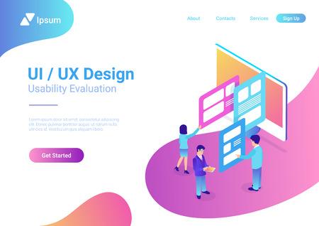 Isometric style illustration UI UX Design People Teamwork Vector Illustration