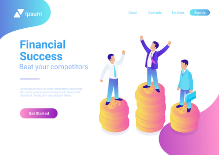 Financial success flat 3d web isometric infographic business concept vector illustration. Happy successful businessman winner on top coin heap rising hands and competitors Stock Vector - 117022994