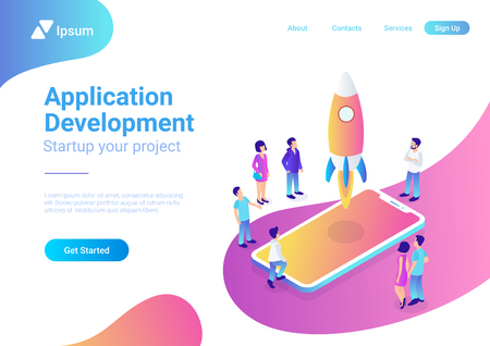 App startup mobile launching process flat 3d web isometric technology online service application internet business concept vector. Rocket space ship take off smartphone micro creative people Illustration