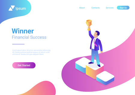 Business trophy rating award winner concept vector flat 3d web isometric infographic. Businessman on first place pedestal rising hand with gold cup Illusztráció
