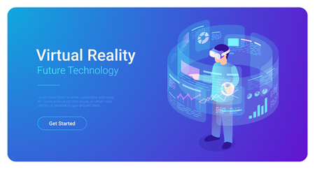 Man in VR helmet in Virtual Reality vector isometric flat illustration