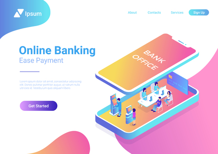 Flat isometric Bank Office interior with managers and clients inside smartphone, under screen panel vector illustration. 3d isometry Online Banking business concept 일러스트