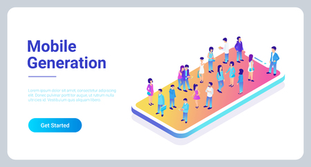 Mobile generation template with crowd of casual micro people on smart phone touch screen flat 3d web isometric infographic concept vector. Communication addiction