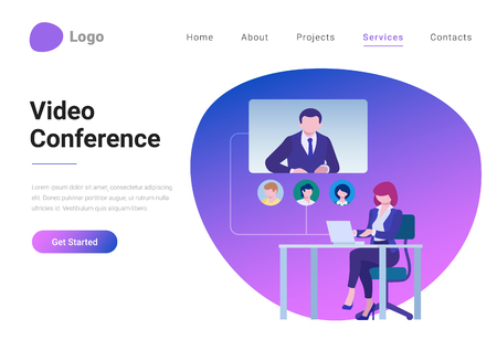 Video Online Chat Conference Communication Technology Flat style vector illustration landing page banner. Businesswoman sitting in workplace speaks communicates with colleagues over video call