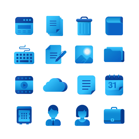 Vector icons Universal set. Browser, Document, Book, Keyboard, Folder, Cloud, Calendar, Briefcase icon  イラスト・ベクター素材
