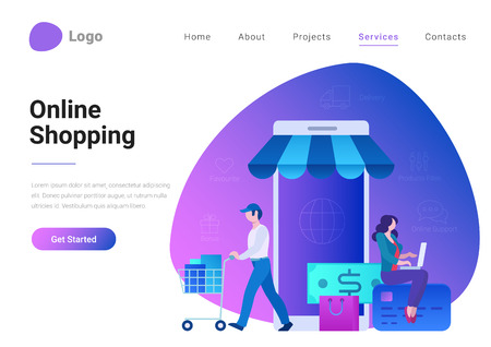 Shopping Online E-commerce Flat style landing page banner vector illustration. Electronic business, sales concept. Man and woman near store shop as smartphone