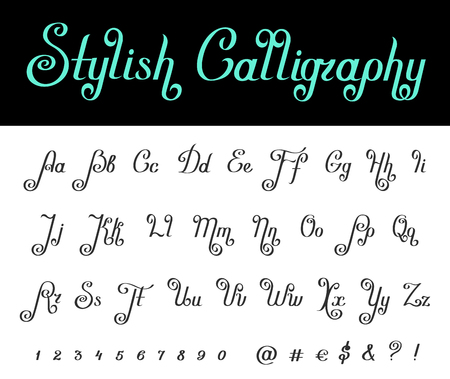 Calligraphy Handwritten Classic Vintage vector Font. Lettering Typography Calligraphic stylish Retro design typeface