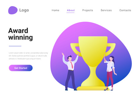 Business Winner Award Trophy Rating Winning Flat style vector illustration landing page banner. Successful team concept. Businessman and businesswoman standing near cup