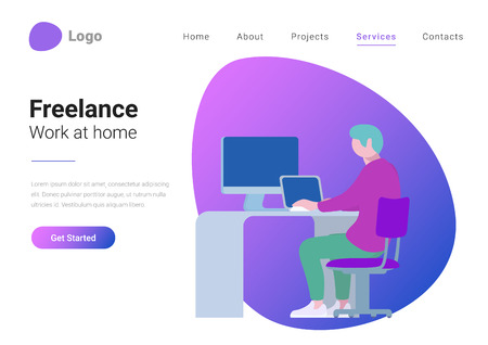 Freelance, Teleworking and Work at home. Flat style landing page banner vector illustration concept. Man freelancer working laptop computer PC at workplace Vectores