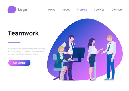 Teamwork Creative Team Flat style landing page banner vector illustration concept. Business meeting room, report or presentation. Group business people look at display and talk