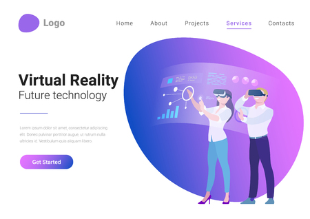 Virtual Reality Teamwork Future Technology Flat style landing page banner vector illustration. Young Man and Woman in VR helmet working holographic display with Business Data Charts