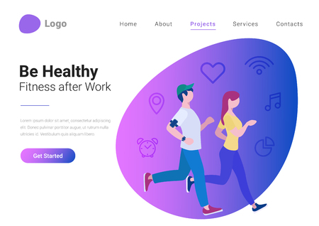 Fitness Be Healthy Active concept Flat style vector illustration landing page banner. Man and woman play sports running with devices on background with linear icons