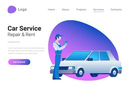 Car Technical Service, Diagnostic, Repair and Rent Flat style vector illustration landing page banner. Mechanic standing near car and holding device in hand Ilustração