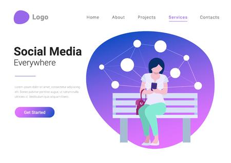 Banner de página de destino de ilustración de vector de estilo plano de estilo de vida móvil de tecnología de redes sociales. Mujer joven que consume contenido en línea tiene teléfono inteligente en mano sobre fondo con red virtual