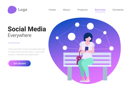 Social Media Technology Mobile Lifestyle Flat style vector illustration landing page banner. Young woman consuming online content holds smartphone in hand on background with virtual network