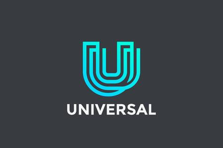 Letter U Logo Monogram Geometric Font design vector template Linear style. Technology Infinite Logotype concept icon