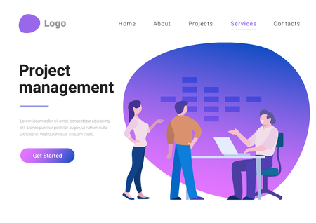 Effective Project Management Flat style vector illustration landing page banner. Employees standing near boss top manager workplace