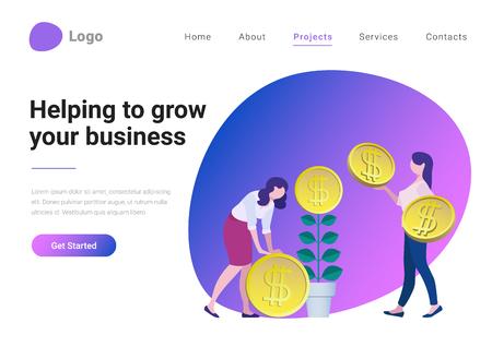 Succesvolle bedrijfsstrategie Consulting investeringen vlakke stijl vector illustratie landing page banner. Zakenvrouw helpt meer munten uit de geldboom te halen. Ondernemer kweekt plant met muntbloem