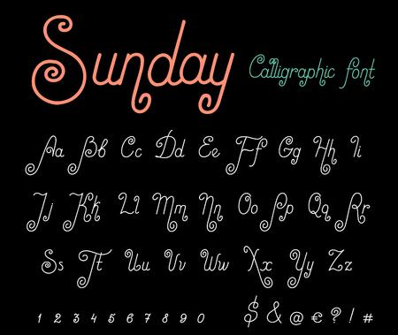Calligraphy Script Font vector Vintage design. Mono line Handwritten Calligraphic typography