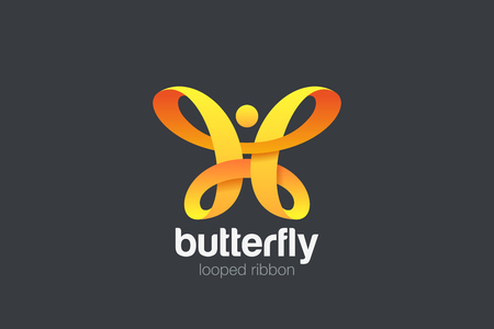 Butterfly Logo Ribbon Loop design vector template. Beauty Fashion Luxury logotype concept icon Vettoriali