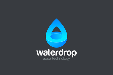 Water droplet Logo design vector template 3D style. Aqua drop technology eco mineral natural Logotype concept icon