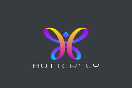 Butterfly Logo Ribbon Loop design vector template. Beauty Fashion Luxury logotype concept icon Illusztráció