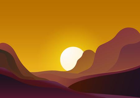 Coucher de soleil dans le désert - fond naturel d'illustration vectorielle. Paysage du soir avec le soleil se couche derrière les montagnes et le ciel jaune. Vecteurs
